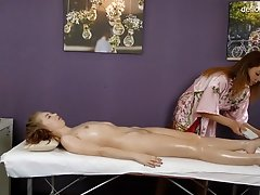 Arina being massaged for first time added 1 year ago by yopopu